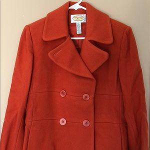 Talbots Ladies Pea Coat Jacket Orange Size 4
